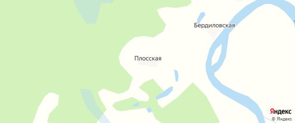 Карта Плосской деревни в Архангельской области с улицами и номерами домов