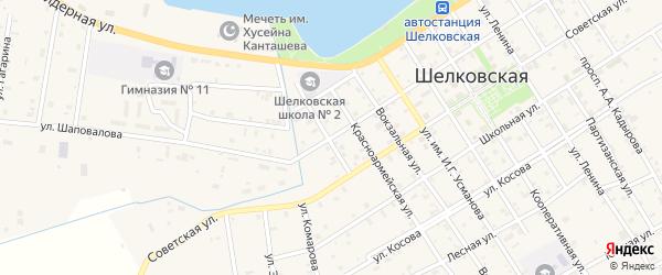Улица Шаповалова на карте Шелковской станицы с номерами домов