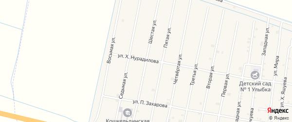 6-я улица на карте села Кошкельды с номерами домов