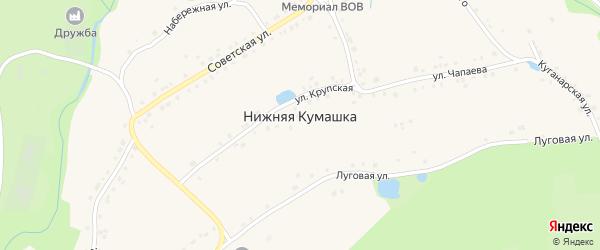 Заречная улица на карте села Нижней Кумашки с номерами домов