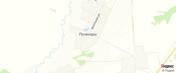 Карта деревни Поченары в Чувашии с улицами и номерами домов