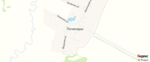 Школьная улица на карте деревни Поченары с номерами домов