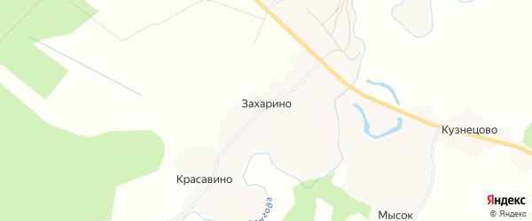 Карта деревни Захарино в Архангельской области с улицами и номерами домов