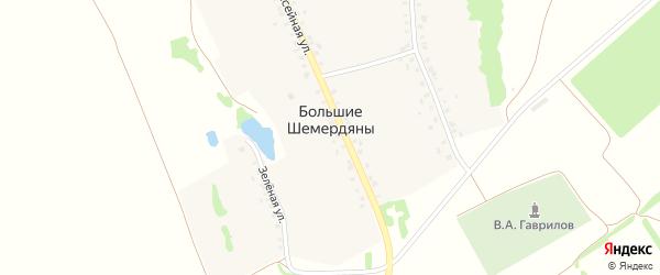 Зеленая улица на карте села Большие Шемердяны с номерами домов