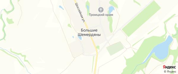 Карта села Большие Шемердяны в Чувашии с улицами и номерами домов