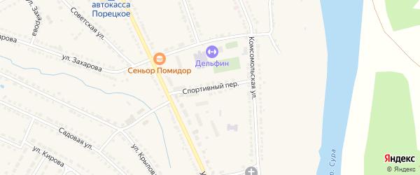 Спортивный переулок на карте Порецкого села с номерами домов