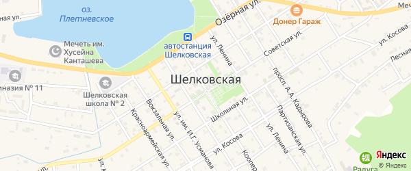 Западный переулок на карте Шелковской станицы с номерами домов