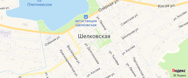 Песчаная улица на карте Шелковской станицы с номерами домов