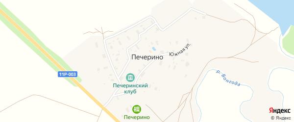 Южная улица на карте деревни Печерино с номерами домов
