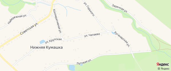 Улица Чапаева на карте села Нижней Кумашки с номерами домов