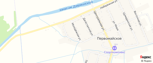 Молодежная улица на карте Первомайского села с номерами домов