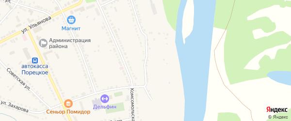 1-я Набережная улица на карте Порецкого села с номерами домов