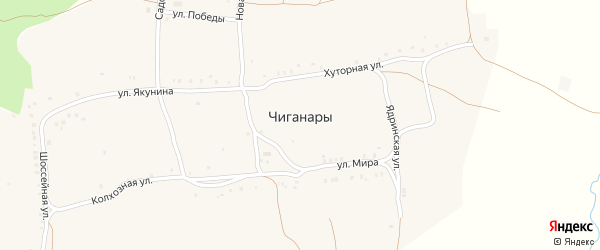 Улица Якунина на карте села Чиганар с номерами домов