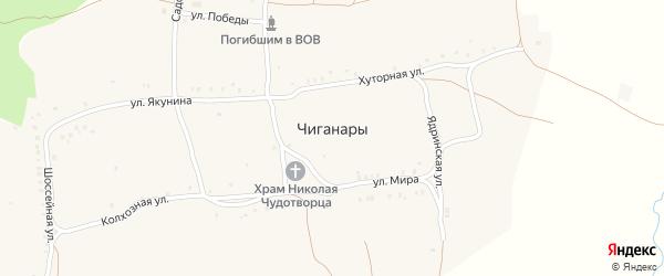Садовая улица на карте села Чиганар с номерами домов