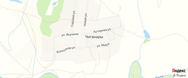Карта села Чиганар в Чувашии с улицами и номерами домов