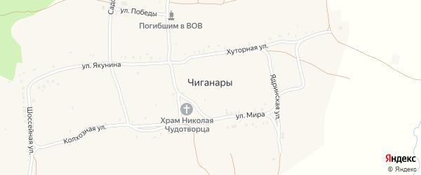 Колхозная улица на карте села Чиганар с номерами домов