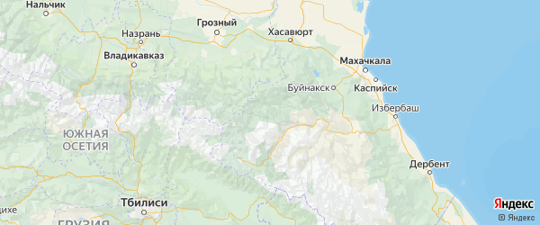 Карта Ахвахского района республики Дагестан с городами и населенными пунктами