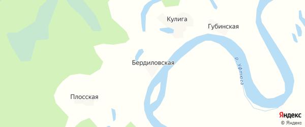 Карта Бердиловской деревни в Архангельской области с улицами и номерами домов