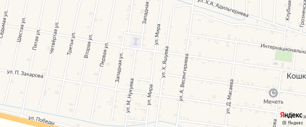 Улица Мира на карте села Кошкельды с номерами домов
