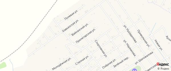 Пролетарская улица на карте Шелковской станицы с номерами домов