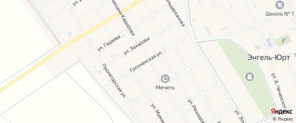 Грозненская улица на карте села Энгель-юрт с номерами домов