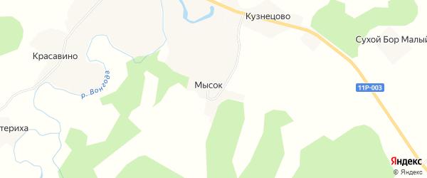 Карта деревни Мыска в Архангельской области с улицами и номерами домов