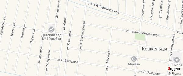Улица Х.Нурадилова на карте села Верхнего Герзель с номерами домов