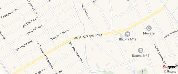 Улица А-Х.Кадырова на карте села Энгель-юрт с номерами домов