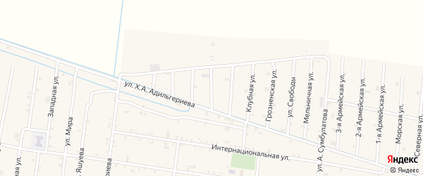 Бригадная 2-я улица на карте села Кошкельды с номерами домов
