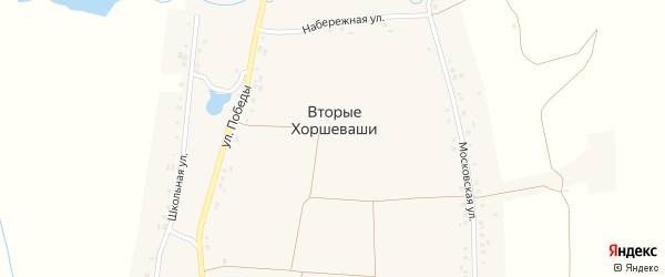 Школьная улица на карте деревни Вторые Хоршеваши с номерами домов