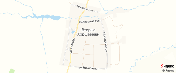 Карта деревни Вторые Хоршеваши в Чувашии с улицами и номерами домов