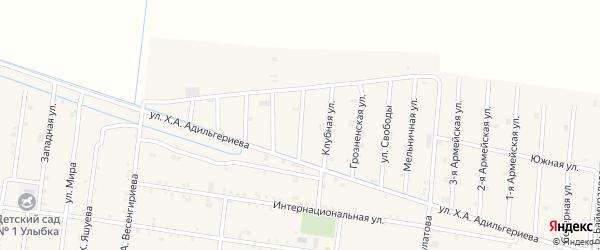 Бригадная 1-я улица на карте села Кошкельды с номерами домов