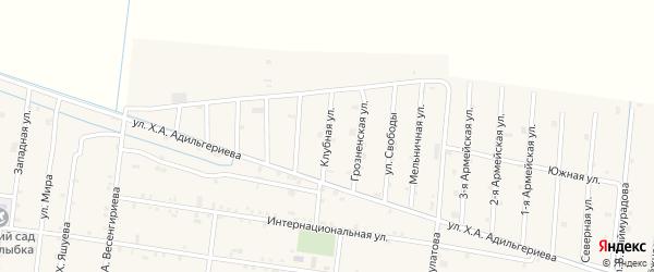 Клубная улица на карте села Кошкельды с номерами домов