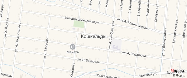 Тракторная улица на карте села Кошкельды с номерами домов