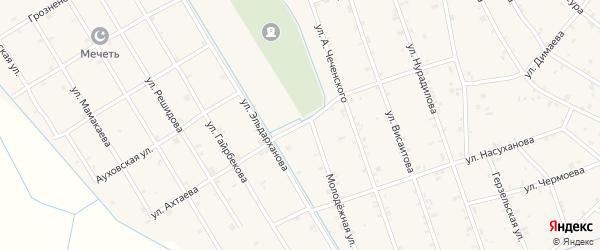 Улица У.Ахтаева на карте села Энгель-юрт с номерами домов