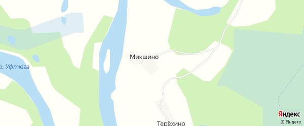 Карта деревни Микшино в Архангельской области с улицами и номерами домов