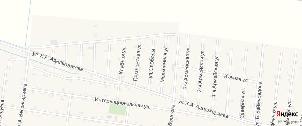 Улица Свободы на карте села Кошкельды с номерами домов