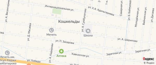 Улица А.Шерипова на карте села Кошкельды с номерами домов