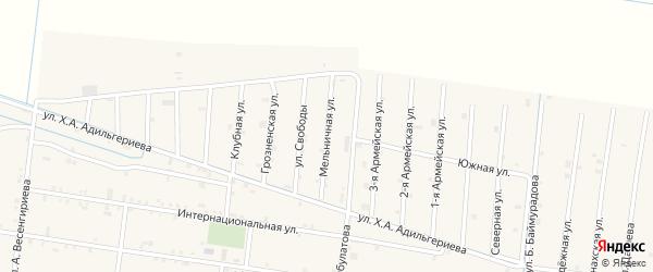 Мельничная улица на карте села Нижний-Нойбер с номерами домов