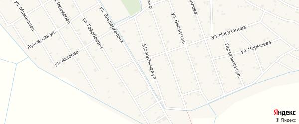 Молодежная улица на карте села Энгель-юрт с номерами домов