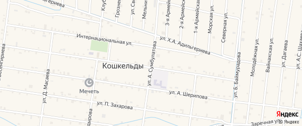 Улица Сумбулатова на карте села Кошкельды с номерами домов