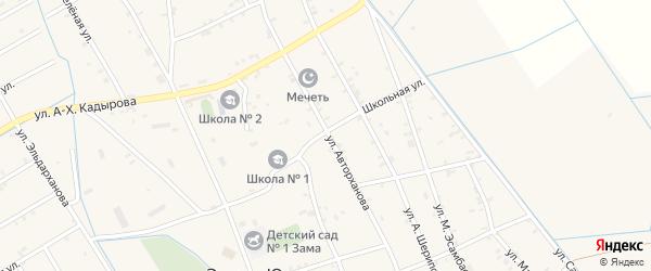 Школьная улица на карте села Энгель-юрт с номерами домов