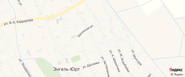 Улица Авторханова на карте села Энгель-юрт с номерами домов
