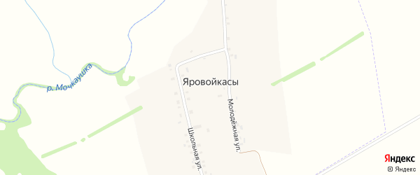 Школьная улица на карте деревни Яровойкас с номерами домов