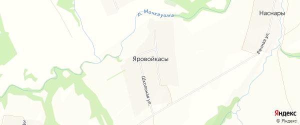 Карта деревни Яровойкас в Чувашии с улицами и номерами домов