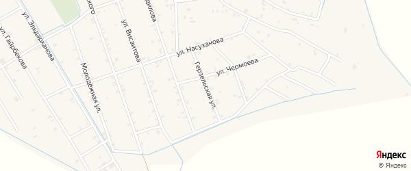 Герзельская улица на карте села Энгель-юрт с номерами домов