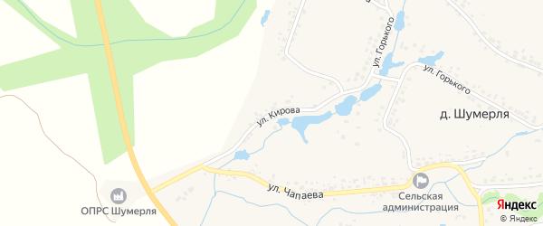 Улица Кирова на карте деревни Шумерли с номерами домов