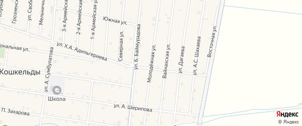 Молодежная улица на карте села Кошкельды с номерами домов