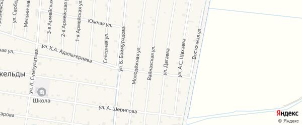 Вайнахская улица на карте села Кошкельды с номерами домов