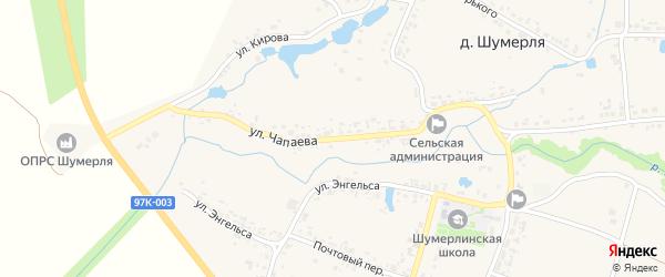 Улица Чапаева на карте деревни Шумерли с номерами домов